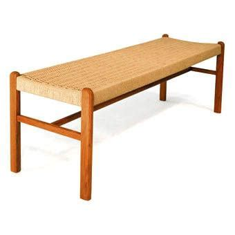 bench rope seat solid teak wood scan