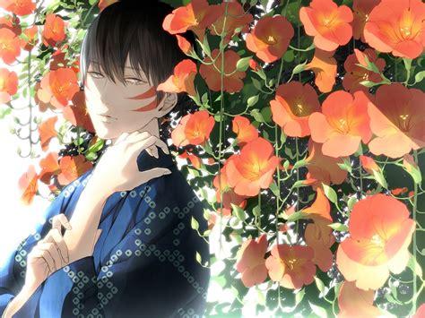 Anime Flower Wallpaper - anime flower boy kimono wallpaper 1440x1080
