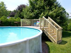 wood above ground pool ladders with small deck pools for
