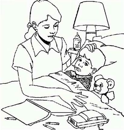 Sick Care Taking Coloring Child Pages Moms