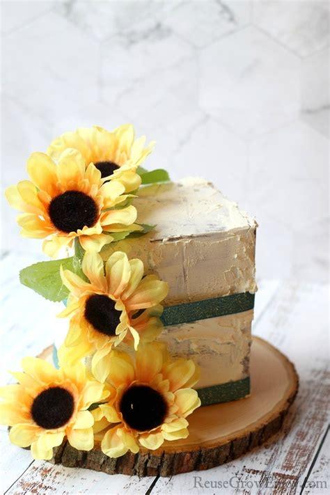 fake cake prop diy sunflower cake reuse grow enjoy