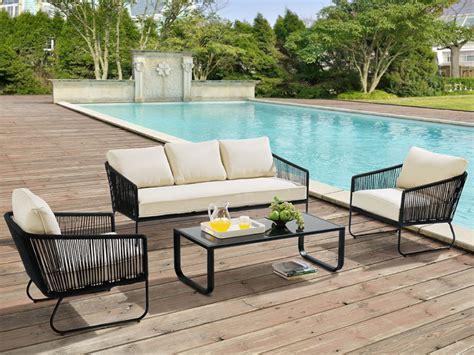 canapé terrasse salon de jardin envigado en métal et corde canapé 3