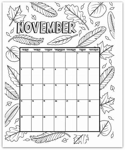 Calendar Coloring Printable Blank November Calendars Monthly