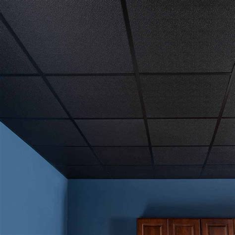 Black Drop Ceiling Tiles 2x2 genesis ceiling tile 2x2 stucco pro in black