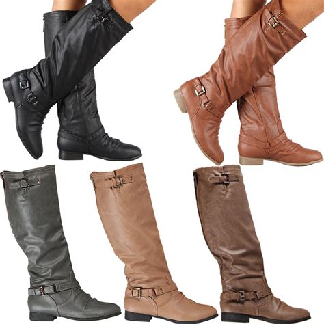 Womens Riding Boots Knee High Fashion Slouch Faux Leather