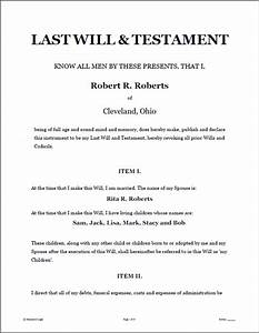 last will and testament template real estate forms With sample of last will and testament template