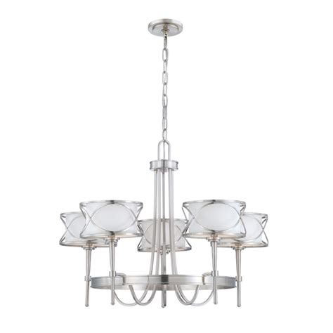 eurofase collection 5 light brushed nickel chandelier