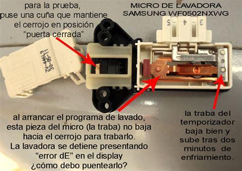 solucionado lavadora samsung mod wf0502nxwg 5kg con error quot de quo yoreparo