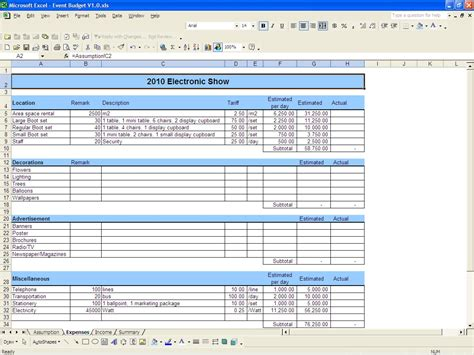 Excel Budget Template Event Budget Template Excel 2010 Budget Template Free