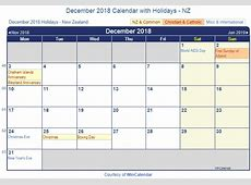 Print Friendly December 2018 New Zealand Calendar for printing