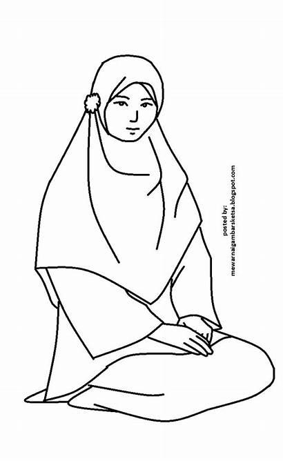Coloring Gambar Princess Mewarnai Muslim Cewek Kartun
