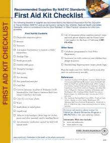 First Aid Kit Checklist Printable PDF