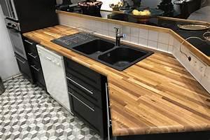 amenager sa cuisine avec des plans de travail en bois massif With plan de travail cuisine chene