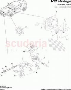 Aston Martin V8 Vantage Hood Latching System Parts