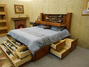 King, Size, Platform, Bed, With, Storage, And, Bookcase, Headboard
