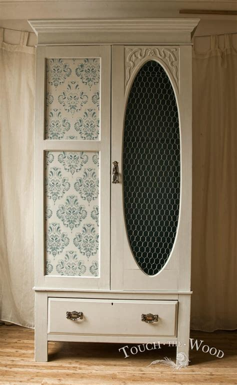 vintage shabby chic wardrobe vintage shabby chic wardrobe with wire mesh no 02 touch the wood