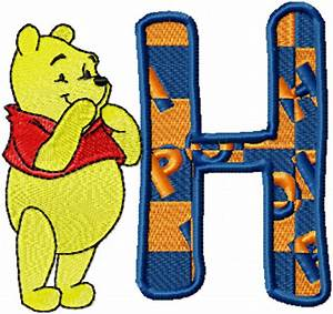 Free embroidery design Pooh Alphabet letter H machine ...