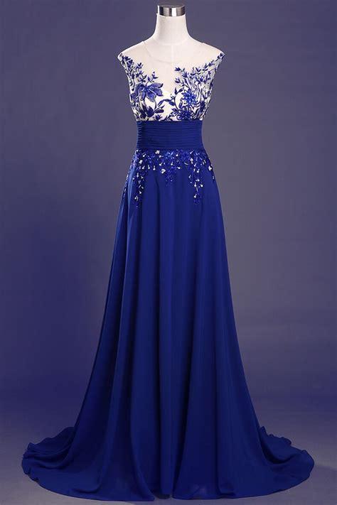 blue chiffon prom dresses lace appliques beaded