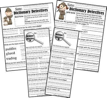 dictionary detective center worksheets   grade