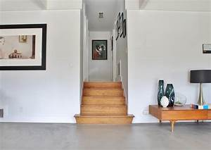 Painting Concrete Floors Living Room Midcentury With