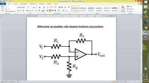 Difference Amplifier Using Multisim Youtube