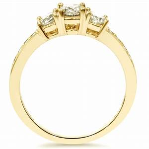 1 ct 3 stone diamond engagement ring 10k yellow gold ebay for 1 ct wedding ring