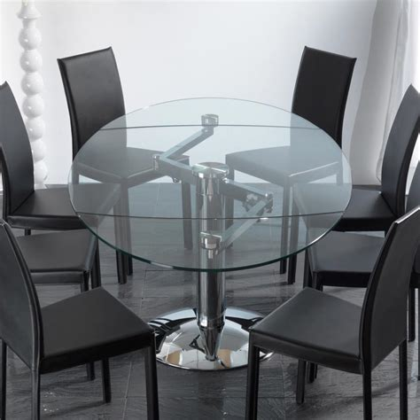 Transparent tempered glass extendable dining table Onda