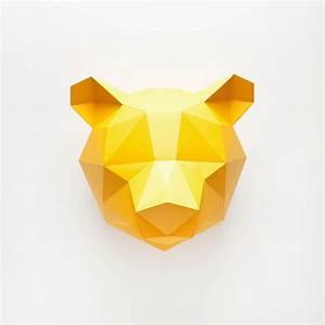 Trophée Animaux Origami : paper bear troph e en papier de assembli ~ Teatrodelosmanantiales.com Idées de Décoration