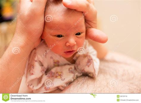 Majin L Is Born by Newborn Baby On The Fathers Stock Image Image