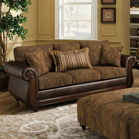 American Furniture Sofa by American Furniture 5850 Sofa With Exposed Wood In Classic