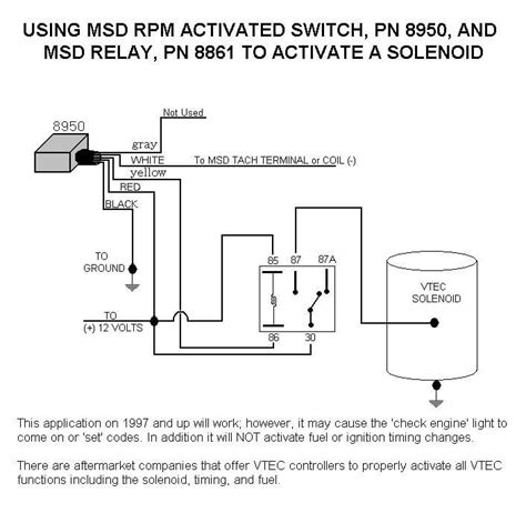 honda vtec solenoid with 8950 and relay msd