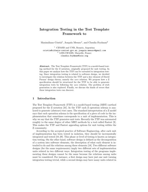 (PDF) Integration Testing in the Test Template Framework