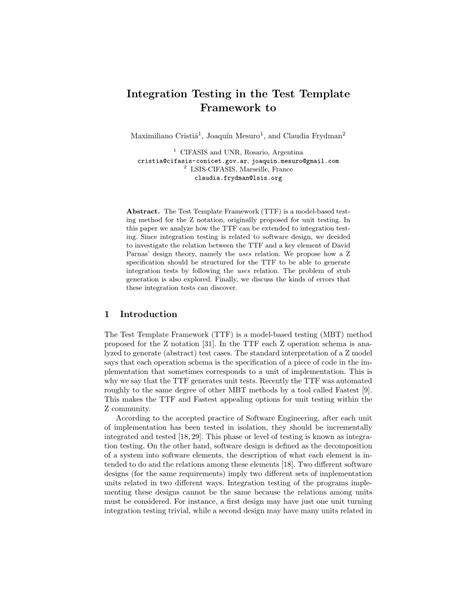 (PDF) Integration Testing in the Test Template Framework