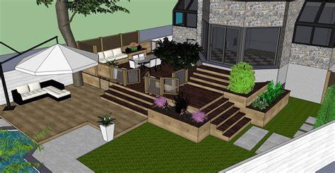 Hampstead Backyard Patio & Terrace 3d Visualization
