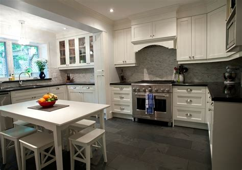 white cabinets tile floor white dining table and stools transitional kitchen 349 | c44ebbdf0c13