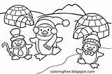 Coloring Penguin Printable Igloo Snow Ice Drawing Activities Playing Frozen Sheets Craft Cap Birds Cartoon Clipart Children Comic Sleet Antarctic sketch template