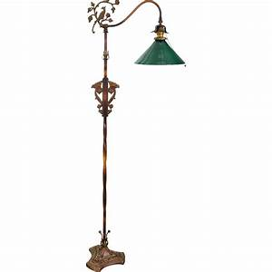 vintage iron floor lamp green shade birds flowers With floor lamp with green shade