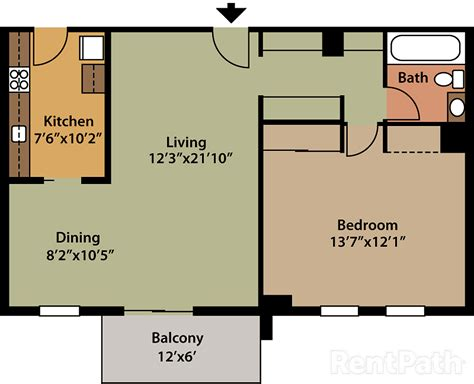 1 Bedroom House Floor Plans by One Bedroom Floor Plan Barton House Apartments Arlington Va