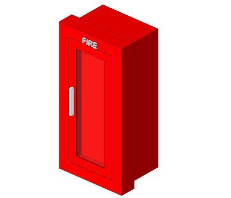 semi recessed extinguisher cabinet cad detail generic protection specialties bim objects families
