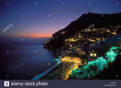 Positano At Night Amalfi Coast Italy Stock Photo 1828480