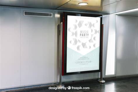 Subway Ad Mockup Mupi Mockup In Subway Station Psd File Free