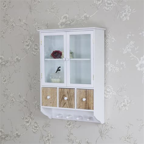 White Bathroom Wall Cabinet With Drawers by Wall Wooden Glazed Wall Cabinet Drawers Hooks Storage Unit