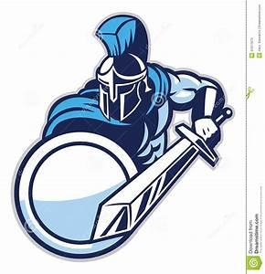 Spartan Mascot Show His Big Sword Stock Vector - Image ...