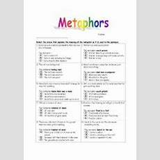 English Worksheets Metaphors Worksheet 1