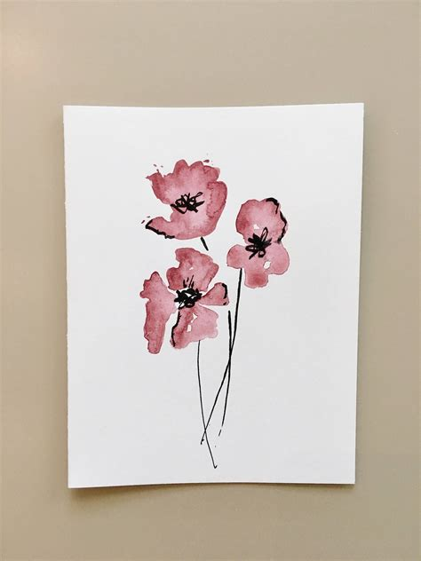 flower watercolor greeting card hand painted card