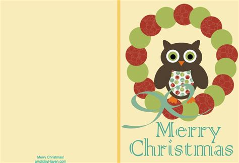 a holiday haven free printable christmas cards cute owl cards