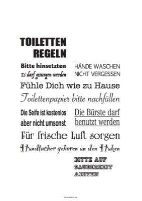 toilettenregeln vorlagen und muster zum ausdrucken