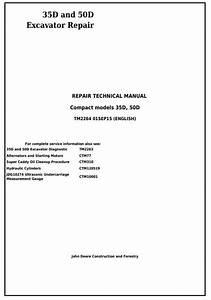 John Deere 35d And 50d Compact Excavator Service Repair Technical Manual  Tm2264     Truck