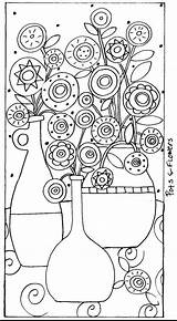 Rug Folk Patterns Karla Paper Pattern Hook Abstract Flowers Coloring Pages Gerard Hooking Pots Craft Flower Sheets Rugs Mosaic Embroidery sketch template