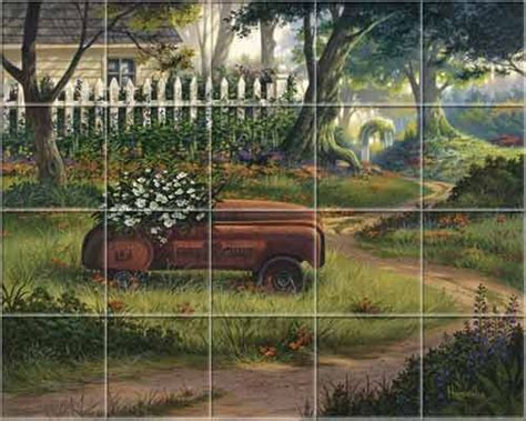 kitchen mural tiles farm country rustic heros